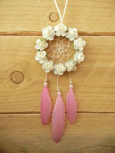 Mini Flower Dreamcatcher: Pink Flower Dreamcatcher, Car Accessory, Car Dreamcatcher, Rearview Mirror Charm, Mirror Dreamcatcher, Boho Decor