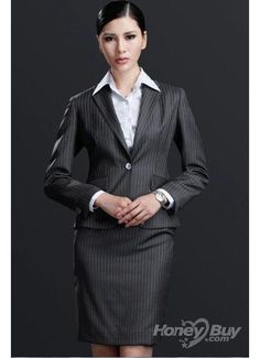 Grey Stripes One Button Notch Lapel Women Business Suits