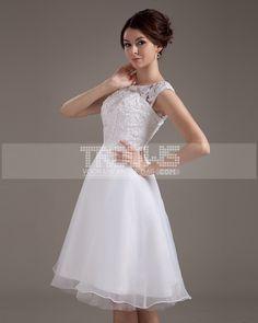 Short & Mini-dentelle ceinture bijou mariee robe de mariage robe courte