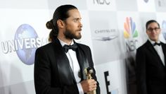Get the stylist secret and Oribe product behind Jared Leto's elegant yet rock and roll man bun from the Golden Globes. #oribe