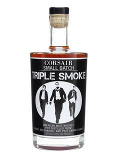 Corsair Small Batch Triple Smoke Single Malt Whiskey : A small batch single malt whiskey from Corsair, using malted barley smoked using cherry wood, peat and beechwood to create richly flavoured and complex spirit.