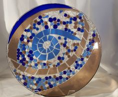Fused Glass Mosaic Bowl Blue and Brown by PhoenixArtGlass on Etsy, $150.00