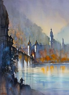 """""""Alte Brücke, Heidelberg"""" (2013) By Thomas W. Schaller, from NYC (current location, California) - watercolor; 30 x 22 in - - Architect and Watercolorist -"""