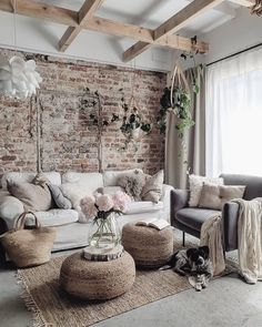 Good Luck pink peonies living room decorating idea Rustic house 10 Stylish Ways to Bring Good Luck to Your House Boho Living Room, Home And Living, Living Room Brick Wall, Living Room With Plants, Luxury Living Rooms, Romantic Living Room, Classy Living Room, Cute Living Room, Barn Living