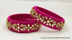 Price For orders, ping us in whatsapp at 8754032250 We ship to all countries Silk Thread Bangles Design, Silk Bangles, Silk Thread Earrings, Thread Jewellery, Gold Jewellery, Beaded Necklace Patterns, Jewelry Patterns, Beaded Jewelry, Handmade Jewelry