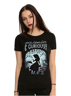 "<p>Black faded V-neck tee from Disney's <i>Alice In Wonderland</i> with a distressed Alice in the forest design.</p><ul>	<li style=""list-style-position: inside !important; list-style-type: disc !important"">100% cotton</li>	<li style=""list-style-position: inside !important; list-style-type: disc !important"">Wash cold; dry low</li>	<li style=""list-style-position: inside !important; list-style-type: disc !important"">Imported</li>	<li style=""list-style-position: inside !important…"