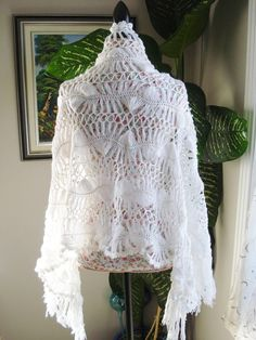 Ready to ship / Gorgeous Angora IVORY and WHITE Sparkle Handmade Crochet Wedding Shawl/ Wrap / Bridal Lace Hairpin Lace - All Seasons