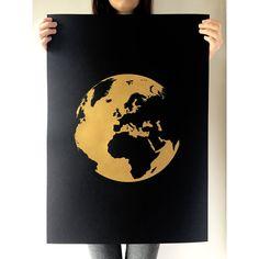 Globe World Print, Gold Print, Earth Print, Earth, Europe, Africa, A2 Art Print, Christmas, Print, Screenprint, Gift Idea, Print
