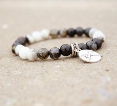 7494f99e6c50 Black White Mens Ombre Agate Stone Stack Bracelet with Pinky Promise  Friendship Charm