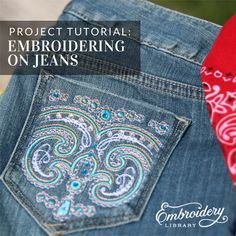 Embroidering on Jeans  (PR1494) from www.Emblibrary.com