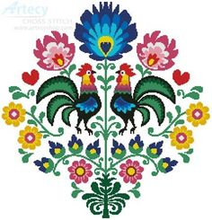 Polish Folk Design with Roosters - cross stitch pattern designed by Tereena Clarke. Category: Birds.
