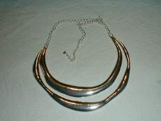talbots silver modernistic human collar statement necklace