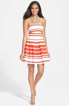 a. drea 'Americana' Stripe Pleat Fit & Flare Dress (Juniors) available at #Nordstrom