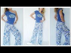 Palazzo Pants in 10 min. senza cartamodello DIY🧡 EN SUB - gonna pantalone Palazzo Pants, Harem Pants, Pajama Pants, Diy Tutorial, Sewing Projects, Fabric, Skirts, Dresses, Persona