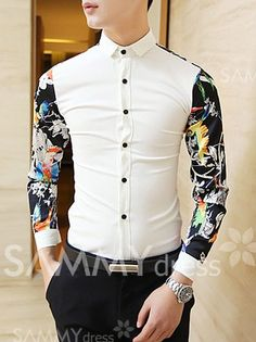 $13.34 Stylish Flower-and-Bird Painting Splicing Shirt Collar Long Sleeve Slimming Polyester Shirt For Men