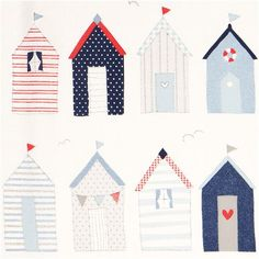 maritime beach house Michael Miller fabric with dots Tissu Michael Miller, Michael Miller Fabric, Beach Shack, Beach Huts, Small Beach Houses, Hut House, Pottery Houses, Free Motion Embroidery, Beach Cottages