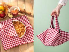 Facile à réaliser et accessible aux débutantes, ce sac à tarte malin vous accompagnera avec chic sur un pique nique ou chez des amis.