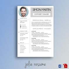 Professional Resume Template  Cv Template  For Ms Word  Instant