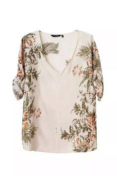Foliage Printing Short Sleeve Blouse