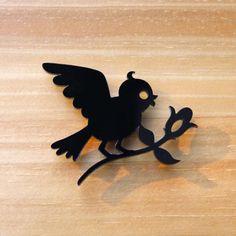 Bird bringing flower laser cut brooch by TallRabbit on Etsy, $24.00