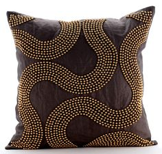Brown Throw Pillow Cover, Square Gold Pearl Spiral Abstract 16 Linen Pillows Covers For Couch - Gold Bead Trail Brown Throw Pillows, Brown Cushions, Couch Cushions, Sofa Throw, Diy Pillows, Linen Pillows, Handmade Pillows, Decorative Throw Pillows, Linen Sofa