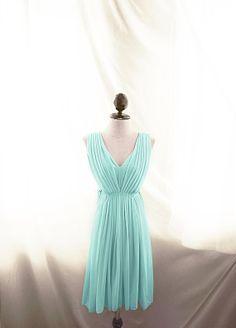 Breakfast at Tiffany's Marie Antoinette Jane Austen Blue Seafoam Green Mint Pleated Romantic Great Gatsby 1920s Elven V Neck Chiffon Dress
