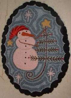 Punch Needle Mat Snowman and Feather Tree Star on Etsy, $54.76 CAD
