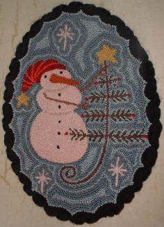 Punzón aguja Mat primitivo muñeco de nieve y por thetalkingcrow