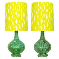 Vintage green glaze lamp bases + graphic yellow custom handmade lampshades. Yellow Ottoman, Handmade Lampshades, Creative Lamps, Lamp Bases, Vintage Green, Table Lamp, Neon, Lighting, Glaze