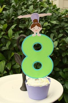 Gymnastics Party Cake Topper by PaperPartyParade on Etsy, $6.00