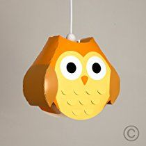 Wonderful Children's Bedroom / Baby Nursery Yellow And Orange Cute Owl Ceiling Cot Mobile Pendant Light Shade