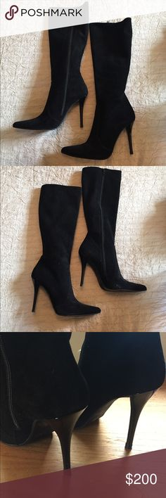"Stuart Weitzman black suede boots size 8 Amazing Stuart Weitzman black suede boots 4"" heels. Excellent condition. These won't last long! Stuart Weitzman Shoes Heeled Boots"
