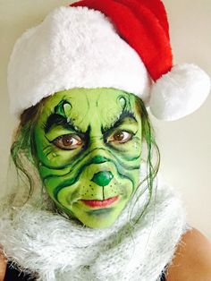 The grinch Christmas face painting  I love it