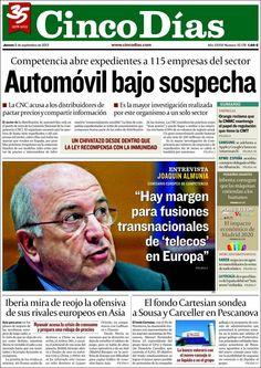 Los Titulares y Portadas de Noticias Destacadas Españolas del 5 de Septiembre de 2013 del Diario Cinco Días ¿Que le pareció esta Portada de este Diario Español?