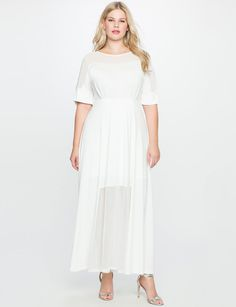 I NEED SOMEWHERE TO WEAR THIS!! Studio Sheer Detail Gown from eloquii.com
