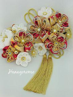 豪華な黒地金襴二重つまみ花簪金房DX★成人式髪飾り 結婚式和装髪飾り 振袖