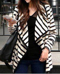 $7.39 Manteau Cardigan en Coton Mince Manche Longue  Col Plat Rayure Fashion