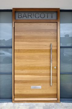 urban front door and name etched in frosted glass