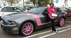 We customized this '13 Mustang for a lady here in San Diego that loves pink. We painted the wheels and painted stripes on the car. www.bangastang.com