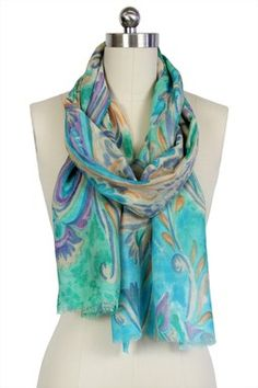 Aqua blue floral dream print scarf, a wool & silk blend.