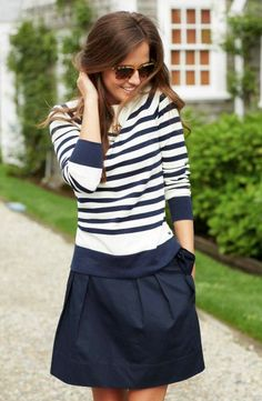 navy stripes and a navy skirt.
