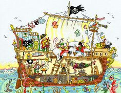 Cut Thru pirate ship cross stitch - Bothy Threads