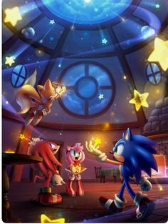 Sonic the hedgehog. Stars in the night.