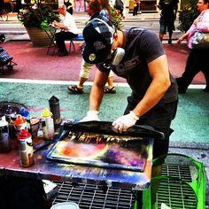 An artist at work in Times Square, New York, NY #timessquare #timessq #art #artist #streetart #painting #spraypaint #aerosol #cool #instagood - @arnab11- #webstagram