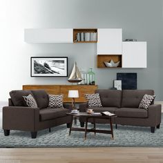 LANGRIA Fabric Couch Bed Modern Sofa Sleeper Living Room Furniture Loveseat USA #ad