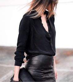 classic black outfit with leather skirt | outfit inspiration