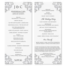 templates for wedding programs