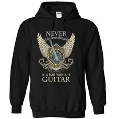 (Tshirt Awesome TShirt) Never Underestimate A Man With A Guitar Tshirt Best Selling Hoodies, Tee Shirts