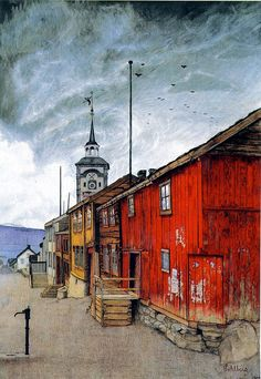 Harald Oskar Sohlberg (September June was a Norwegian Neo-romantic painter, particularly known for his depictions of the mountains of Rondane and the town of Røros, Norway. Nordic Art, Scandinavian Art, Painting & Drawing, Watercolor Paintings, Russian Painting, European Paintings, Art For Art Sake, Old Buildings, Art World
