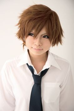 25cm short brown Anime Hitman Cosplay wig CW180